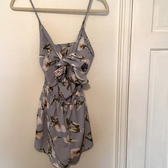 Floral romper with front tie
